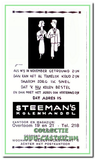 Advertentie van Steeman's kolenhandel.