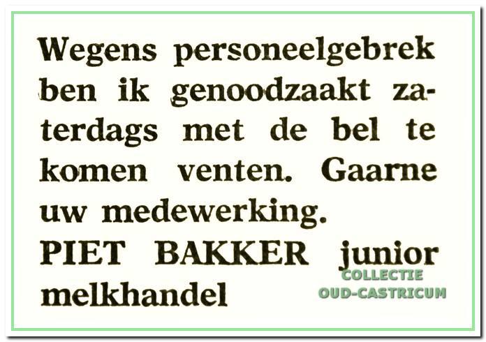 Advertentie van Piet Bakker jr. uit het Nieuwsblad voor Castricum van 26 mei 1967.
