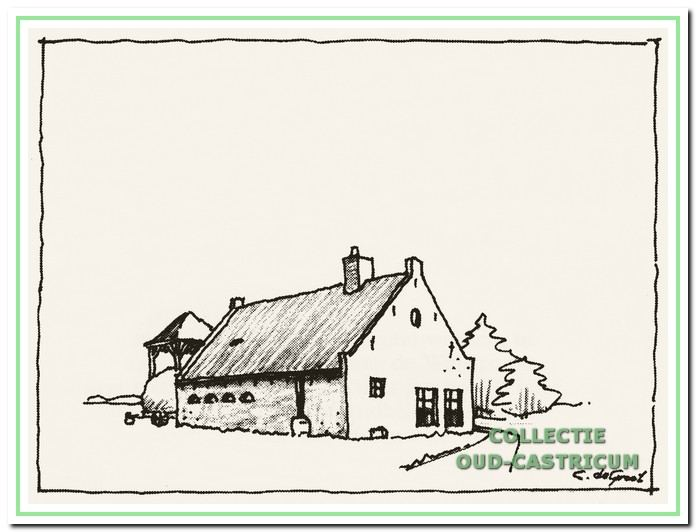 Schaapherderswoning. Vanaf 1888 woonde de familie Mooij in het duingebied. Eerst in de niet meer bestaande schaapherderswoning en later op de boerderij Zeeveld (tekening van Cor de Groot).