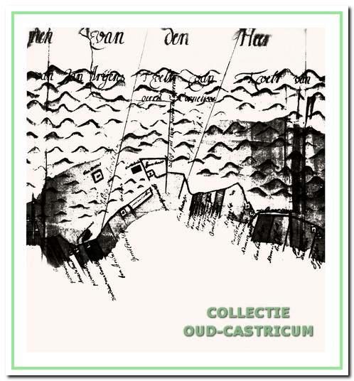 """De duinvoet onder Bakkum 1661 met onder andere de gronden van """"Advocaet Gaef""""."""