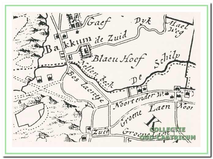 """Op een kaart van De Leth in het ,,Zegepralent Kennemerland"""" circa. 1735 is de ligging van het huis Gaeff nog juist op de rand weergegeven."""