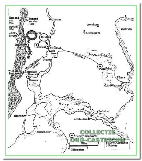 De aanvangsposities der strijdende partijen voorafgaande aan de slag bij Castricum.