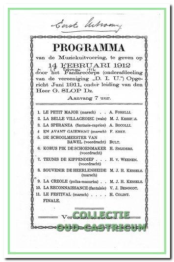 Het programma van de eerste uitvoering van D.I.U. op 14 februari 1912.
