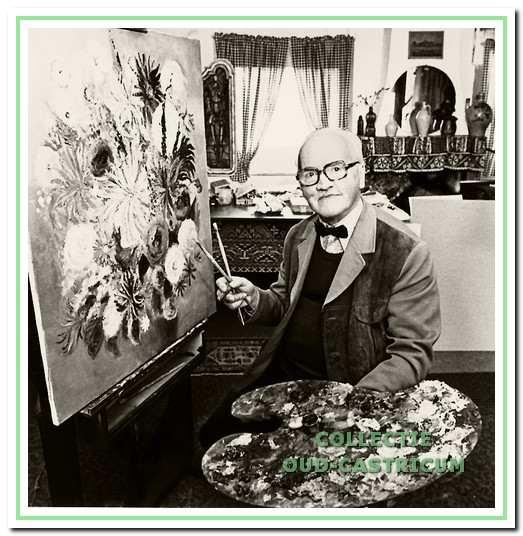 Geert Middelveld jr., bezig met het schilderen van bloemen, een van zijn geliefkoosde onderwerpen.
