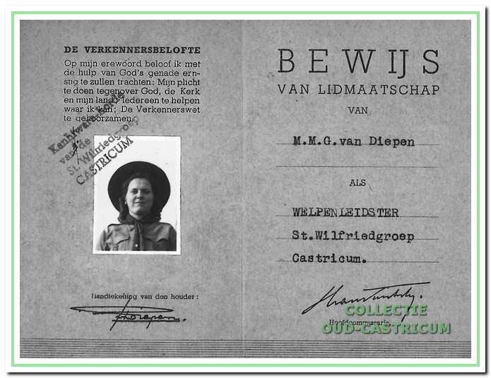Bewijs van lidmaatschap van Gré van Diepen van de St. Wilfriedgroep uit 1947.