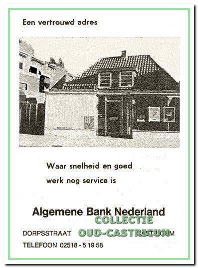 Advertentie uit de periode, dat de ABN op het adres Dorpsstraat 47 was gevestigd. Het pand blijkt van buiten weinig veranderd.