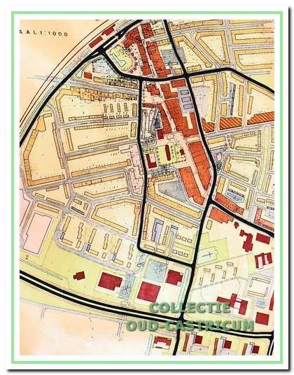 Het futuristische 'regeneratieplan' voor de oude dorpskern. Het plan voorzag in nieuwe ontsluitingswegen en een groot open gebied voor het station met dagwinkels, waar nu de Tuin van Rommel floreert.