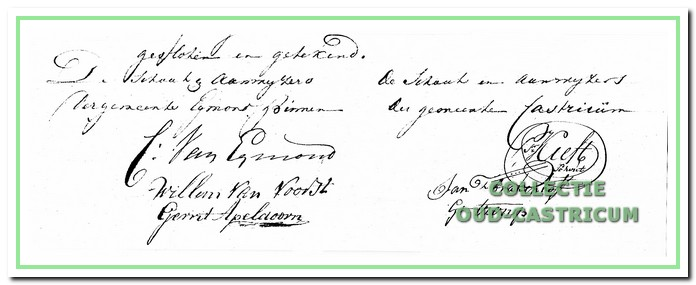 Handtekening van de vertegenwoordigers van Egmond-Binnen en Castricum.