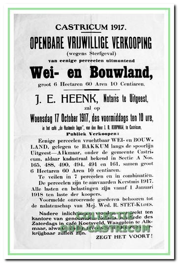 Openbare verkoping in Bakkum, 1917, van wei en bouwland gelegen aan de spoorlijn tussen Uitgeest en Alkmaar onder de gemeente Castricum.