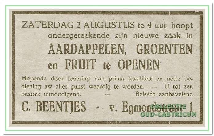 Advertentie bij de opening van de zaak aan de Van Egmondstraat 1 in 1942.
