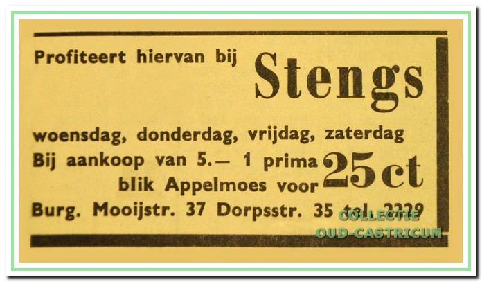 Advertentie in het Nieuwsblad voor Castricum uit 1967.