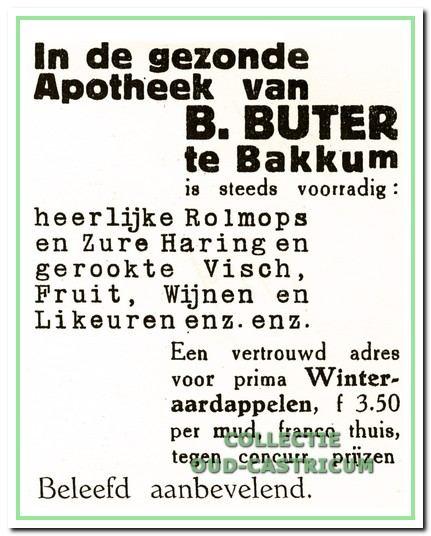 Advertentie uit 1929 van de winkel van Bertus Buter.