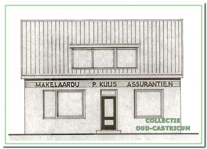 Een bouwtekening geeft een impressie van het tijdelijk kantoor van defirma Kuijs in het voormalige woonhuis van de familie Veldt.