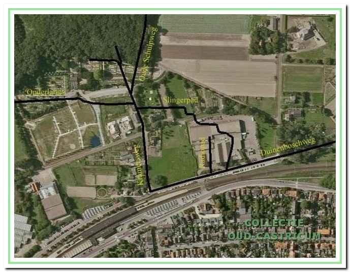 Op deze luchtfoto uit 2009 zijn onder andere het Slingerpad, Radiopad en Onderlangs aangegeven naar de situatie rond 1937.