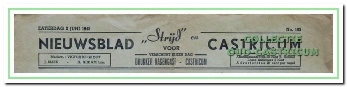 Het Nieuwsblad voor Castricum gecombineerd met het illegale blad 'Strijd'.