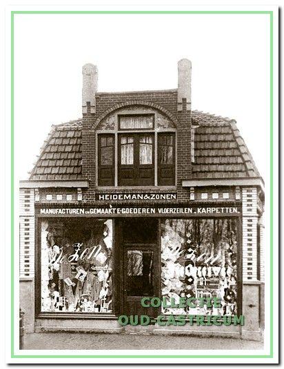 Manufacturenwinkel 'De Zon' van Hendrik Jan Heideman, gebouwd in 1909 op de hoek van de Dorpsstraat en de Schoolstraat.