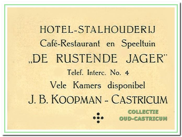 De Rustende Jager, Hotel - Stalhouderij - Café - Restaurant - Speeltuin.