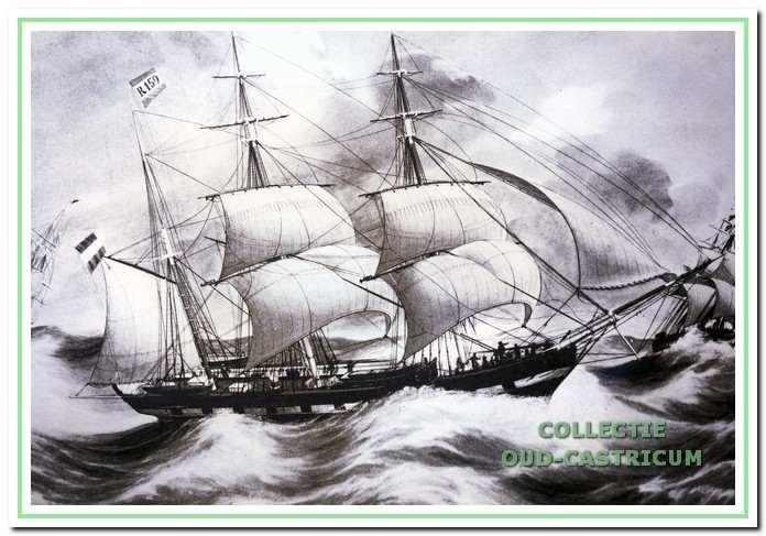 Aquarel van een barkschip (1848).
