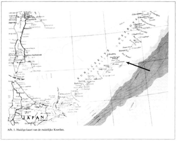 Huidige kaart van de zuidelijke Koerilen
