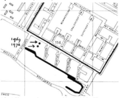 Plaats van de pottenstapel in plan Molendijk.