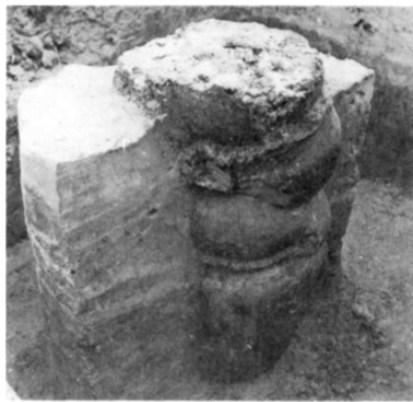 Vertikale profiel van de pottenstapel.