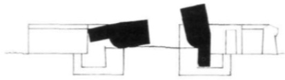 Een kantelblokversperring (schematisch).