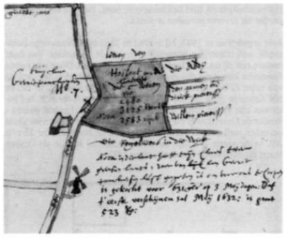 Fragment van een kaart van voor 1600; hierop staat links de boerderij aan de toen coren (keur)dijk geheten. De tekst is later op de kaart bijgeschreven. In de nabijheid van de boerderij staat een watermolen.