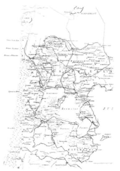 Als gevolg van de doorbraken van de Zijpe en de vorming van de Zuiderzee is het veen in grote delen van Noord-Holland weggeslagen en hebben zich grote wateroppervlakten gevormd. Het IJ heeft van Beverwijk een havenplaats gemaakt. Castricum wordt aan alle kanten omringd door het water In het westen beschermd door de duinen en is verder omringd door dijken tegen het water uit de binnenmeren, (situatie aan het einde van de 14e eeuw).