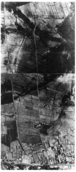 Nog steeds zijn de Korendijk en de Noordermaatweg in het polderlandschap aanwezig. Prachtig is op de luchtfoto uit 1944 aan het landschap af te lezen welke strijd er vroeger tegen het opdringende water gevoerd moest worden. De lager gelegen en daardoor drassige gebieden markeren heel duidelijk de voormalige waterlopen. (Foto: Stichting voor Bodemkartering te Wageningen 30 november 1944).