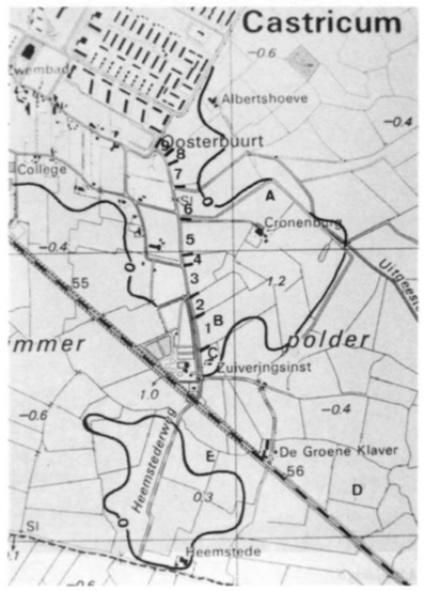 Het archeologische waarnemingsgebied, verdeeld in verschillende deelgebieden, te weten: de slootkanten rond 'Kronenburg'; de rioolsleuf aan de oostzijde van de Heemstederweg (nr 1 t/m nr 9): de Goudtuinen; de Hooiweid en de sleuf voor de watertransportleiding door de geest Heemstede.
