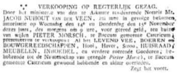 Openbare verkoping in 1827 van de inboedel van boerderij Starrenburg.