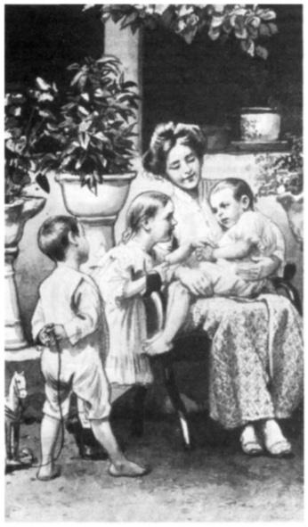 Gestileerde tekening van een moeder met kinderen