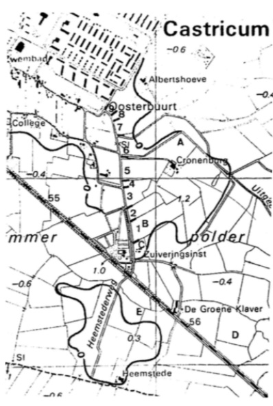 """Het archeologisch waarnemingsgebied, verdeeld in verschillen de deelgebieden te weten: A. de slootkanten rond """"Kronenburg""""; B. de rioolsleuf aan de oostzijde van de Heemstederweg (nr. 1 t/m 9); C. de Goudtuinen; D. de Hooiweid en E de sleuf voor de watertransportleiding door de geest Heemstede."""