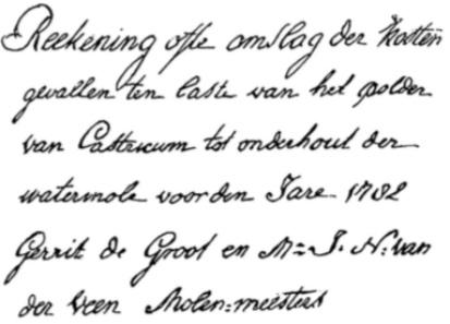 Aanhef van de rekening van de Castricummer polder uit 1782.