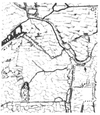 Detail van een kaart uit het begin van de 17e eeuw; bij de pijl is de Castricummermolen aangegeven. Aan de zuidkant loopt de Korendijk met daarbij de buurtschap Heemstede, welke zeer nadrukkelijk op het kaartje staat aangegeven.