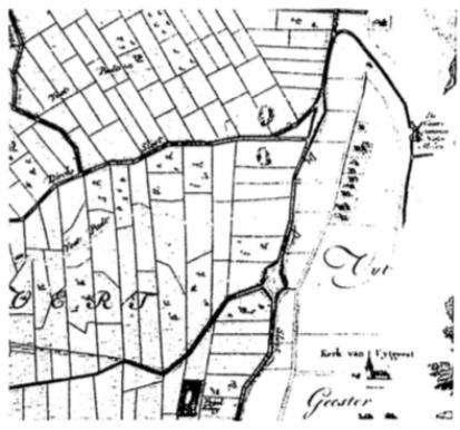 Detail van de kaart van 'de Heerlijkheid Castricum' uit 1737. Het rijtje boerderijen ten westen van de molen vormen het reeds lang geleden verdwenen buurtschap Benes onder Uitgeest.