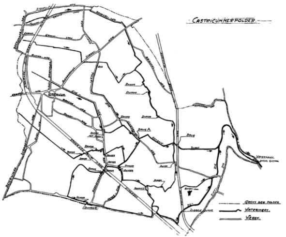 Kaart van de Castricummerpolder; in de dertiger jaren opgemaakt bij een uitvoerig onderzoek naar de afwatering in de polder. In de aangegeven wateringen werden op 54 plaatsen de doorstromende water hoeveelheden gemeten.