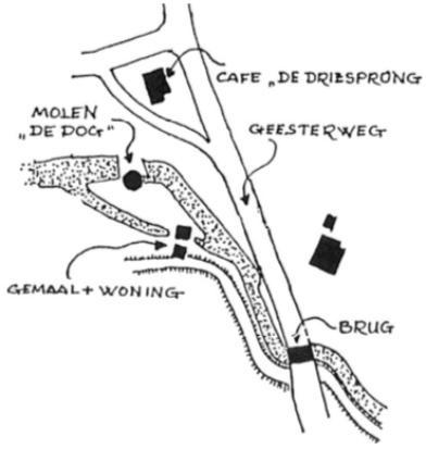 Overzicht van de waterlopen bij de molen en het gemaal en de ligging van de 'Valbrug'.
