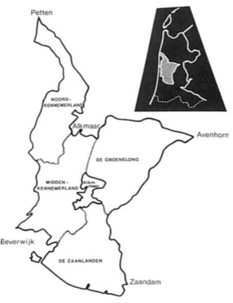 Het waterschap 'Het Lange Rond' met zijn vier afdelingen.