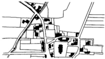 De smederij in de Schoolstraat. De kaart geeft de toestand van de directe omgeving in 1830 weer.