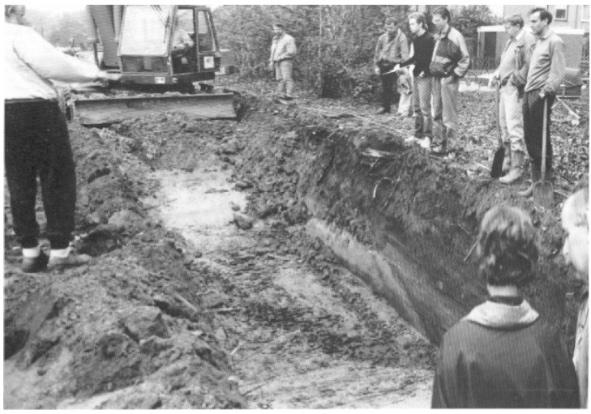 Proefopgraving van de werkgroep aan de Cieweg.