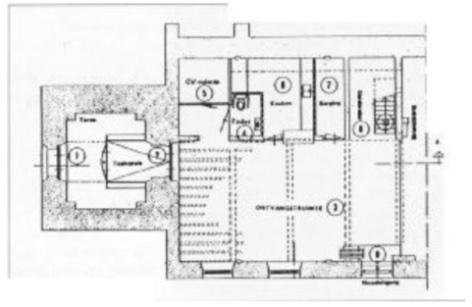 De inrichting van de kerkruimte (westzijde) op de begane grond.
