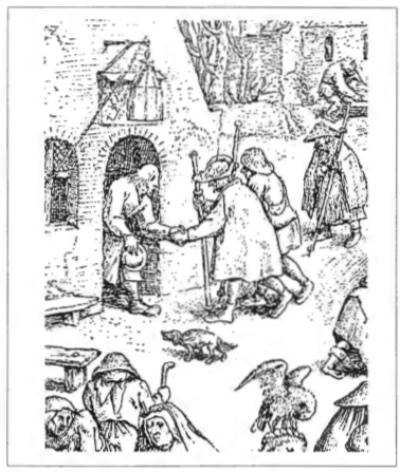 'De pelgrims herbergen' detail van een pentekening uit 1559 van Pieter Bruegel de Oude. Munten uit de middeleeuwen maakten vaak heel reizen.