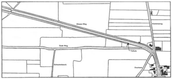 De situatie omstreeks 1830 bij de oprichting van het kadaster. Op de kaart is de plaats van het tolhuis aangegeven, gelegen tussen de oude en de nieuwe weg. Duidelijk is ook te zien hoe de 'Nieuwe Weg' verschillende percelen weiland heeft doorsneden.