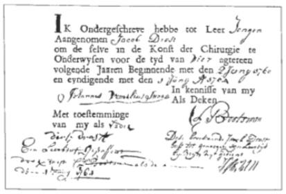De inschrijving van Jacob Drost in het Alkmaarse Gildeboek als leerling van Johannes \lomilius Swaan. Rechtsonder het bijge- schreven oordeel over de leerperiode van 4 jaar.
