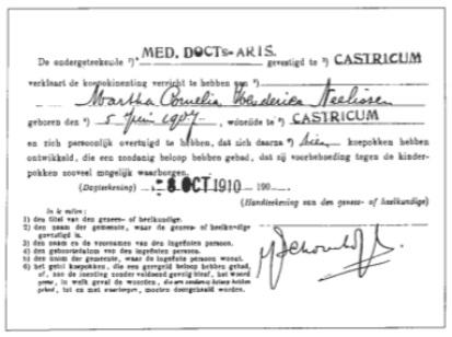 Bewijs van koepokinenting, afgegeven door dokter Schoonhoff in 1910.