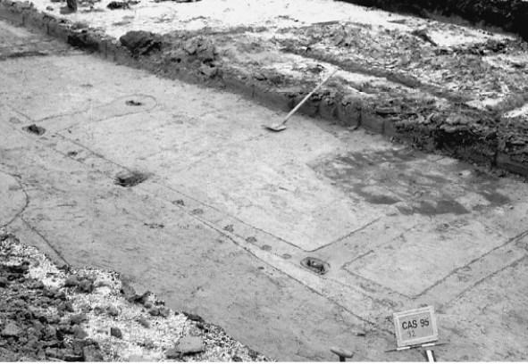 Gedeelte van de plattegrond van de boerderij uit 272 of even daarna. In het vlak zijn de wandgreppels van het gebouw zichtbaar met daarin rijen zwarte verkleuringen. de overblijfselen van de wand- en zwaardere staanderpalen. De grote donkere verkleuring bleek bij uitgraving een waterput uit de Vroege Middeleeuwen te bevatten.