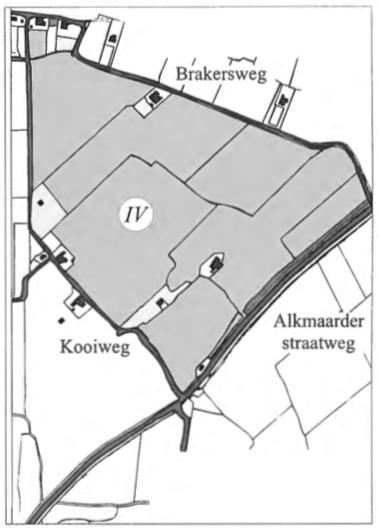 De sector IV, gelegen tussen de Kooiweg, Brakersweg en Alkmaarderstraatweg in het jaar 1830.