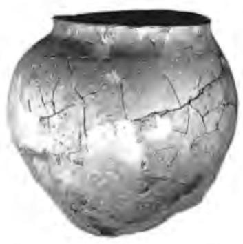 De in de slootkant van de Ciesloot gevonden pot, na restauratie.