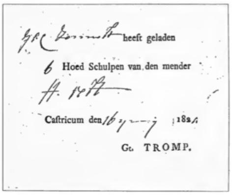 Dit bewijs werd afgegeven door de opzichter Gerrit Tromp. Schelpenvaarder Jan Zonneveld heeft 6 hoed schelpen geladen van de schelpenvisser Hendrik Veldt; zij woonden allen op het Schulpstet.